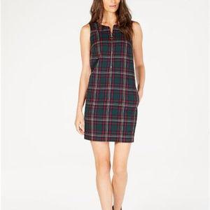 Trina Turk Womens Plaid Sleeveless Zip-Front Dress